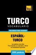 libro Vocabulario Español Turco   3000 Palabras Más Usadas