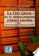 libro La Cita Legal En El Ordenamiento Jurídico Español