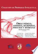 libro Obras Inéditas, Anónimas, Seudónimas, Póstumas Y Huérfanas